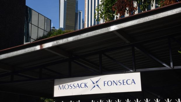 File photo showing the facade of the building where Panama-based Mossack Fonseca law firm offices are in Panama City. Photograph: Getty Images