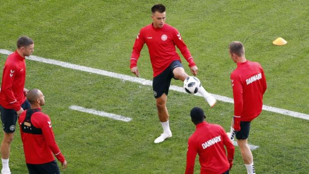 Denmark's Jonas Knudsen on the ball during Denmark training. Photograph: Jack Guez/AFP