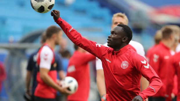 Pione Sisto ahead of Denmark's clash with Australia. Photograph: Tatyana Zenkovich/EPA