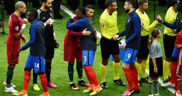 4b277416f Cristiano Ronaldo and Patrice Evra hug prior to the Euro 2016 final between  Portugal and France