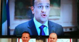 "Taoiseach Leo Varadkar and Minister for Climate Action Denis Naughten at the launch of ""Empowering Communities for Climate Action"" on Wednesday. Photograph Nick Bradshaw"