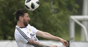 Argentina's Lionel Messi taking part in a training session at the team's  camp near Moscow. Photograph: Getty Images