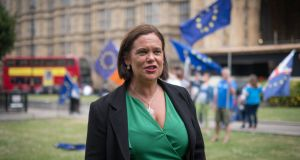 Sinn Féin leader Mary Lou McDonald outside Westminster  before meeting   Theresa May.  Photograph:   Stefan Rousseau/PA Wire
