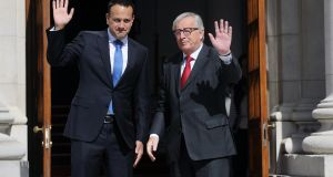 President of the European Council Jean Claude Junker pictured with An Taoiseach Leo Varadkar in Government buildings on Thursday. Photograph: Aidan Crawley