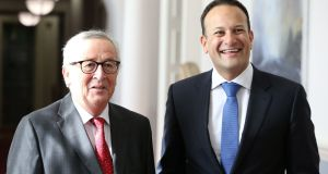 Taoiseach Leo Varadkar  and President of the European Commission, Jean-Claude Juncker, during his visit to the Government Buildings in  Dublin. Photograph:  Brian Lawless/PA Wire