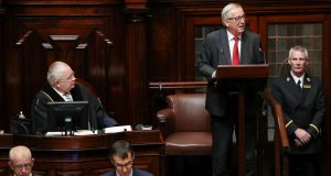 "European Commission president Jean-Claude Juncker addressing a joint sitting of the Dáil and Seanad:  ""As the clock to Brexit ticks down, we must prepare for every eventuality, including no deal."""
