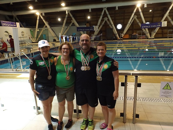 The winning Transplant Team Ireland – Sheila Gregan, Orla Hogan, Peter Heffernan and Deirdre Faul – at the 10th European Transplant and Dialysis Sports Championships in Cagliari, Sardinia.