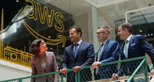 Kate O'Connell TD, Taoiseach Leo Varadkar, Amazon Web Service Ireland country manager Mike Beary and Martin Shanahan  at the opening of the AWS new office in Dublin. Photograph: Dara Mac Donaill