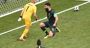 Mile Jedinak celebrates Australia's equaliser against Denmark. Photograph Emmanuel Dunand/AFP