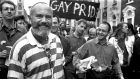David Norris taking part in a  Gay Pride march