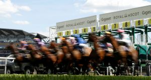 A view of the start of the  Ribblesdale Stakes at Ascot on Thursday. Photograph: Andrew Boyers/Reuters