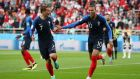 Kylian Mbappe celebrates his winner against Peru with Antoine Griezmann. Catherine Ivill/Getty