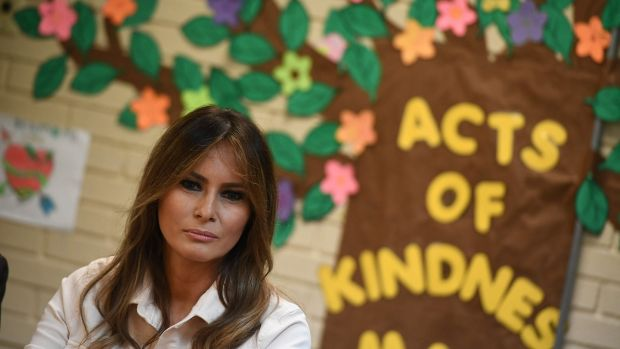 US first lady Melania Trump takes part in a roundtable discussion at Luthern Social Services in Texas on Thursday. PhotographL Mandel Ngan/ AFP/Getty Images