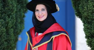 Dr Amal Al Qubaisi, chairperson and speaker of the Federal National Council of the the United Arab Emirates parliament, received an Honorary Doctorate of Philosophy from DCU. Photograph: Julien Behal Photography.
