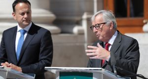 "Taoiseach  Leo Varadkar and President of the European Council Jean-Claude Juncker:  ""Ireland has to be part of the deal."" Photograph: Tom McLoughlin/EPA"