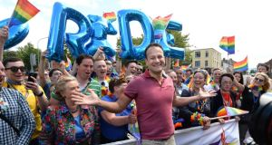 Gay pride: Leo Varadkar and (left) Frances Fitzgerald at last year's Dublin parade. Photograph: Dara Mac Dónaill
