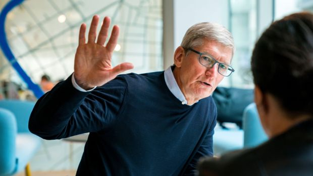 Apple chief executive Tim Cook visits Irish developer Hostelworld in Dublin. Photograph: Brooks Kraft/Apple