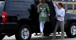 "Melania Trump wears a Zara design jacket with the phrase ""I Really Don't Care. Do U?"" on the back. Photograph: Kevin Lamarque/Reuters"