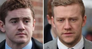 Former  Ulster Rugby players Paddy Jackson (left) and Stuart Olding, who were acquitted of rape following a trial two months ago. File photograph: Niall Carson/PA
