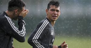Mexico's Hirving Lozano and midfielder Hector Herrera during training ahead of their World Cup Group F clash with South Korea. Photo: Yuri Cortez/Getty Images