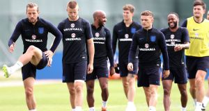 Harry Kane in action with teammates during an England training session ahead of their World Cup Group G clash with Panama. Photo: Alex Morton/Getty Images