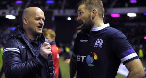 Scotland head coach Gregor Townsend  with flanker John Barclay in November 2017. Photograph: Andy Buchanan/AFP/Getty Images