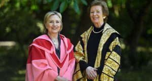 Former US secretary of state Hillary Clinton  with  former president of Ireland Mary Robinson at Trinity College Dublin. Photograph: Clodagh Kilcoyne/Reuters