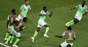Ahmed Musa celebrates scoring Nigeria's opener against Iceland. Photograph: Kevin C.Cox/Getty