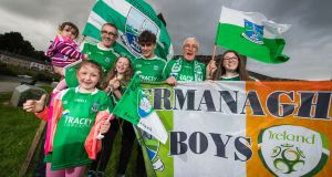 From left, Aoife and Sean Maguire, Niamh Maguire, Erin Keaney, Patrick Keaney, Gaby Maguire and Dana Keaney are all ready to cheer on Fermanagh at Clones on Sunday. Photograph:  Ronan McGrade