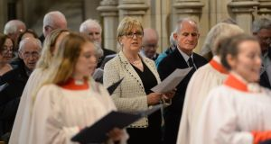 Former president of Ireland, Dr Mary McAleese, and her husband, Martin McAleese, at a Service of Choral Evensong in Christ Church Cathedral. Photograph: Dara Mac Dónaill / The Irish Times