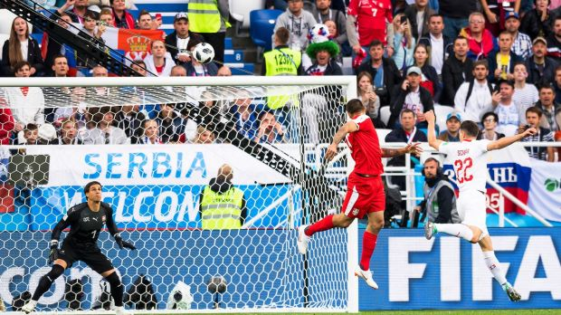 Serbia's Aleksandar Mitrovic opens the scoring against Switzerland in Kaliningrad. Photograph: Laurent Gillieron/EPA