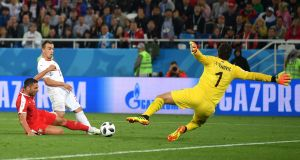 Xherdan Shaqiri scores Switzerland's late winner against Serbia. Photograph: Dan Mullan/Getty