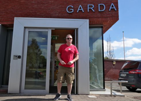 Former solicitor Michael Lynn at Leixlip Garda station today where he has to sign on daily. Photograph: Collins