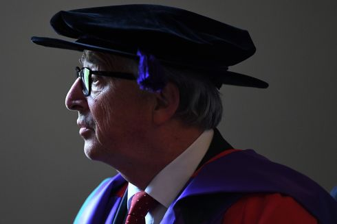 A Doctor of Laws degree is conferred upon European Commission president Jean-Claude Juncker at the Royal College of Surgeons, Dublin. Photograph: Clodagh Kilcoyne
