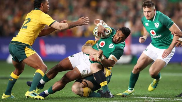 Bundee Aki got through a mountain of work in defence and attack. Photograph: Matt King/Getty Images