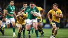 Tadhg Furlong of Ireland makes a break during the  win in Sydney. Photograph: Mark Kolbe/Getty Images