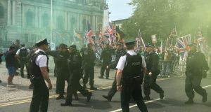 "The 100 or so people who took part in the ""UK Freedom March"" rally in Belfast were met with a counter-demonstration by anti-fascint groups. Photograph: Amanda Ferguson"