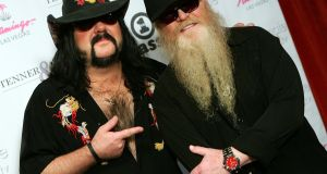 Pantera founder and drummer Vinnie Paul with ZZ Top's Dusty Hill in Las Vegas in 2006. File photograph: Ethan Miller/Getty Images
