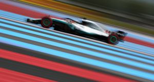 Lewis Hamilton   on track during qualifying for the Formula One Grand Prix of France at Circuit Paul Ricard  in Le Castellet. Photograph: Dan Istitene/Getty Images