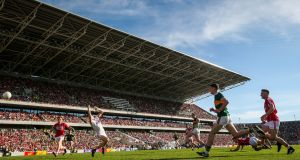 Kerry's Stephen O'Brien scores their first goal past Mark White. Photograph: Ryan Byrne/Inpho