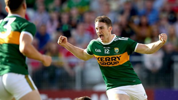 Kerry's Stephen O'Brien celebrates his first half goal. Photograph: Ryan Byrne/Inpho