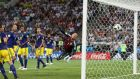 Germany's Toni Kroos scores their scores their winner. Photograph: Francois Lenoir/Reuters