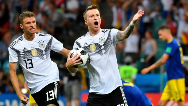 Germany's forward Marco Reus celebrates scoring the equaliser. Photograph: Getty Images