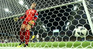 Germany's Manuel Neuer was unable to keep Ola Toivonen's lob out. Photograph: Michael Dalder/Reuters