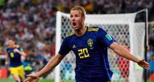 Sweden's forward Ola Toivonen celebrates scoring the opening goal against Germany.  Photograph: Getty Images