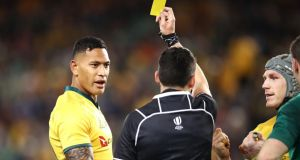 Israel Folau is shown a yellow card during Australia's third Test defeat in Sydney. Photograph: Mark Kolbe/Getty