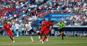 England's Jesse Lingard scores their third goal in the World Cup Group G game against  Panama  at the  Nizhny Novgorod Stadium. Photograph: Matthew Childs/Reuters