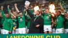 Peter O'Mahony holding aloft the trophy  after Ireland won the test series against Australia in Sydney. Photograph: Reuters
