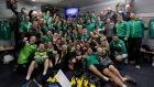 The Ireland players, with head coach Joe Schmidt in the back row, and staff celebrate in the dressing room after Saturday's win over Australia sealed a first series victory against the Wallabies since 1979. Photograph: Dan Sheridan/Inpho