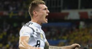 German midfielder Toni Kroos  after scoring against  Sweden at the Fisht Stadium in Sochi. Photograph:  AFP Photo